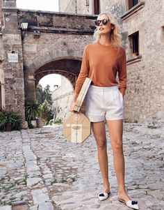 Lightweight sweater + tucked in + trouser shorts