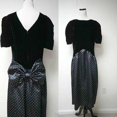 Jane Schaffhausen . belle france . 80s black prom dress . size