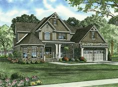 This large four bedroom farmhouse style home has a grand entrance with a front porch and two story foyer.  The grand two story great room with fireplace, features French doors which lead out to the back grilling porch, and a balcony above overlooking this great space.  Farmhouse Plan # 151174.