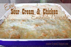 EASY SOUR CREAM AND CHICKEN ENCHILADA CASSEROLE