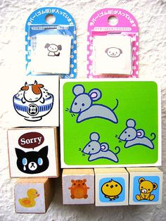 Japanese Rubber Stamps Cat Animal Mouse Dog by FromJapanWithLove, $12.00