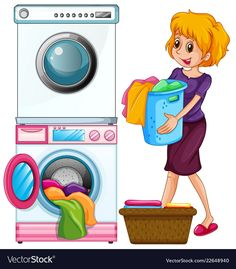 Woman doing laundry on white background Royalty Free Vector Speech Language Therapy, Speech And Language, Dry Cleaning Services, Preschool Writing, Seascape Art, Girl Cooking, Doing Laundry, Laundry Service, Cartoon Pics