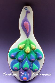 Peacock cookie~                 By Yankee Girl Yummies, purple, pink, blue, green, yellow