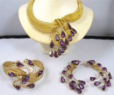 Vtg Napier Amethsyt Rhinestone Collar Necklace Cuff Bracelet Earrings Demi Set | eBay