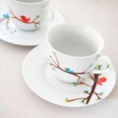 Bird Hand Painted tea cups and saucer four piece set - http://www.ezebee.com/glamasaurus/shop