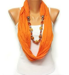 orange necklace scarf perfect for Christmas gift