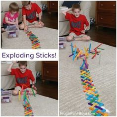 Build a Chain Reaction with Popsicle or Craft Sticks - Frugal Fun For Boys and Girls - ~Frugal fun for boys and girls: Build an Exploding Chain Reaction with Craft Sticks - Crafts For Boys, Projects For Kids, Art For Kids, Craft Projects, Kid Art, Craft Stick Crafts, Craft Sticks, Fun Crafts, Popsicle Sticks