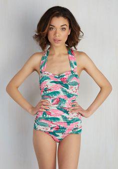 74287a5ec2f3 1950s tropical tiki swimsuit Fun One Piece Swimsuit