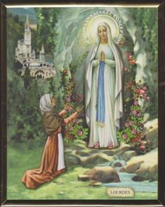 Our Lady of Lourdes Plaque - 11 x 14 in. St Bernadette Of Lourdes, Santa Bernadette, Blessed Mother Mary, Blessed Virgin Mary, Catholic Art, Religious Art, St Bernadette Soubirous, Saint Martha, Catholic Pictures