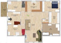 planløsning 2. etg (Drømmehuset) Divider, Floor Plans, Diagram, Room, Furniture, Home Decor, Blogging, Decoration Home, Home Furnishings