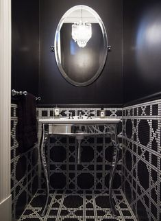 Sexy black powder room with graphic tile