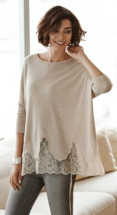 The Lace & Cashmere Sweater. The ultimate sweater: Eternally feminine. Undeniably chic.