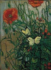 Vlinders en klaprozen, 1890, van Gogh  In dit decoratieve bloemstukje is de invloed van de Japanse kunst duidelijk te zien. Zo is de close-up van bloemen en insekten typisch Japans, net als het ontbreken van diepte en de asymmetrische compositie.  Tegen de wirwar van groene blaadjes zette Van Gogh met een paar likjes verf de twee vlindertjes. Ze vormen het tegenwicht van de twee bloemen aan de bovenkant van het schilderij.