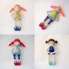 Cute PDF muñecas Marina, Addy, Adeline, patrón de ganchillo - juguete muñeca de Crochet, DIY tutorial