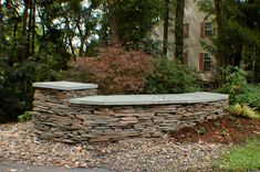 One of my favorite walls designed to mark a driveway entrance