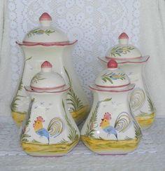 8 Pc Charles Sadek J Willfred Rooster Canister Set Hand Painted Portugal Pottery #CharlesSadek
