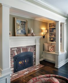 Here is a another post from our Home Design Ideas category. Create a Cozy Fireplace with an Inglenook layout. Below is an interior remode. Inglenook Fireplace, Cozy Fireplace, Fireplace Design, Fireplace Ideas, Fireplace Mantels, Fireplace In Kitchen, Cozy Living Rooms, Living Spaces, Sweet Home