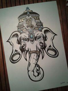 elefante | Tumblr C Tattoo, Body Art Tattoos, Hand Tattoos, Arte Ganesha, Ganesha Tattoo, Tattoo Sketches, Tattoo Drawings, Art Sketches, Elephant Tattoos