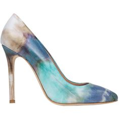 Msgm Blue & Purple Leather Tie-Dye Pumps ($420) ❤ liked on Polyvore featuring shoes, pumps, heels, the label monster, leather pumps, purple shoes, high heel pumps, blue pointed toe pumps and blue high heel shoes