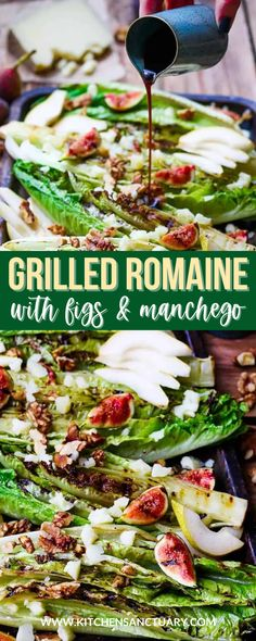 A great alternative to the regular romaine lettuce salad. This Grilled Romaine Hearts with Figs, Pear, and Manchego recipe is delicious. Add some walnuts and honey-balsamic vinaigrette and you have a perfect warm-weather salad! #grilledromainehearts #romainelettuce #summersalad #grilledlettuce #figs #pear #manchego Grilled Beef, Grilled Pizza, Grilled Chicken, Homemade Barbecue Sauce, Barbecue Recipes, Grilling Recipes, Grilled Romaine Hearts, Honey Balsamic Vinaigrette, Foil Dinners