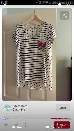 Ezra mixed material knit top - love the polka dot pattern mixing
