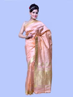 207734f8aa212 Advika Peach Pink With Gold Motifs Ornate Border Pallu Pure Banarasi Silk  Saree Silk Saree Banarasi