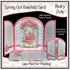 Spring Out Gatefold Card Beary Cute on Craftsuprint designed by Beryl Wingate - These adorable cards have a lovely 3D appeal, the arch on the insert sits on accordion folded side gussets and the central elements sit on a folded spring, allowing the card to lie flat for posting and the layers spring out when removed from the matching envelope that is included in each kit.This kit comes with a great choice of sentiments and a blank greetings panel on the back , making this a really versatile…