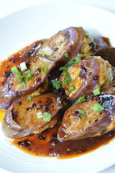 DimSumptuous: Chinese Stuffed Eggplant 煎釀茄子
