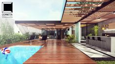 Pergola With Roof Plans Refferal: 9389341936 Tropical Architecture, Architecture Design, Future House, My House, Terrasse Design, Moderne Pools, Interesting Buildings, Dream House Exterior, Pergola With Roof