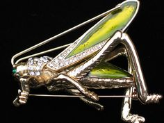 """STANDING GOLD GREEN RHINESTONE GRASSHOPPER INSECT BUG PIN BROOCH JEWELRY 3D 3"""" #Unbranded #PINBROOCHJEWELRY"""