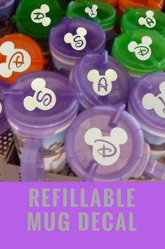 Disney World Cup Vinyl Initial Decal, perfect for use with the refillable mugs including in the Disney Dining Plan. Great way to keep track of your mugs! #commissionlink #disney #disneyworld #disneydiningplan