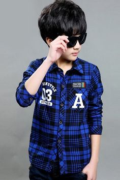 Stylish Long Sleeve Turn-Down Collar Checked Letter Number Thicken Shirt... £10,12