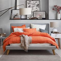 modern bedroom color schemes trendy gray color orange accents white nightstands