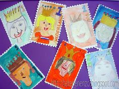 Stamp design, by students of group 6 Requirements: white drawing paper on format various color ma Diy For Kids, Crafts For Kids, Arts And Crafts, Paper Crafts, Diy Craft Projects, School Projects, Diy Crafts, 3rd Grade Art, Art Activities For Kids