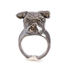 Jet Black Pug Ring, $105, now featured on Fab.
