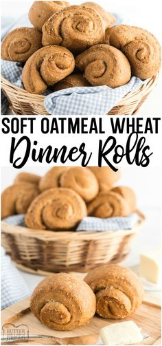 Soft Wheat Dinner Rolls made with whole wheat flour yeast oats and molasses for a homemade roll with fantastic taste and texture! Family favorite from BUTTER WITH A SIDE OF BREAD Healthy Bread Recipes, Best Bread Recipe, Waffle Recipes, Pastry Recipes, Top Recipes, Roll Recipe, Baking Recipes, Healthy Food, Homemade Rolls