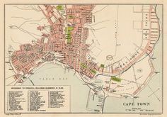 Cape Town map - Old map of Cape Town print - Fine reproduction on paper or canvas Vintage Maps, Antique Maps, Houses Of Parliament, City Maps, Most Beautiful Cities, Historical Pictures, Roman Catholic, Vintage Photographs, Cape Town