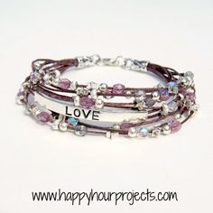 Waxed linen, Czech glass and assorted bead #bracelet from Happy Hour Projects @ happyhourprojects.com/beaded-love-bracelet/