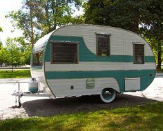 1958 13' CARDINAL TRAVEL TRAILER Vintage Camper Canned Ham