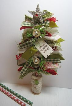 Greenwood Girl Cards: Make it Monday #229 - Fabric Strip Christmas Trees