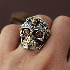 Men's Sterling Silver Red Eyes Skull Ring