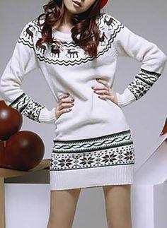 Baumwollmischungen Lange Ärmel Über dem Knie Lässige Kleidung Kleider
