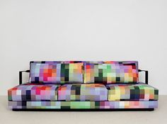Decorative Sofa with Pixel Pattern by Cristian Zuzunaga