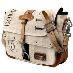 Canvas Designer Messenger // Handmade & Upcycled by peace4youBAGS