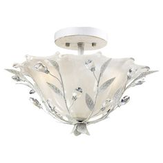 Westmore Lighting Faun W Antique white Frosted Glass Semi-Flush Mount Light at Lowe's. The Faun Ceiling Light resembles a lush winter bramble emerging from a blanket of melting ice. Playful tendrils abloom with faceted crystal buds spring Semi Flush Ceiling Lights, White Ceiling, Flush Mount Ceiling, Elk Lighting, Flush Mount Lighting, Home Lighting, Lighting Ideas, Lighting Direct, Modern Lighting
