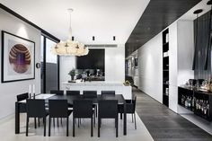 Gallery featuring images of the Ambitious Caroline Street Project by Architecton, a dual-home design with a sense of scale and drama in its modern construction. Black And White Dining Room, Black And White Furniture, Dining Room Design, Interior Design Living Room, Dining Set, Kitchen Interior, Kitchen Design, House And Home Magazine, White Decor