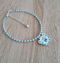Butterfly Anklet Ankle Chain Blue with Pearl by CiaoBambinoUK