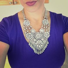 Diamond Floral Elegance Necklace Floral diamond bib collar necklace, blinged out with silver accents. Tiny flaw, offset stone on one flower. Perfect for a chic dress or a fun night out! Also available in multicolor in my closet! Jewelry Necklaces