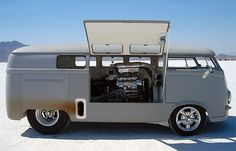 VW bus. I'm guessing ear plugs are a good idea in this one.