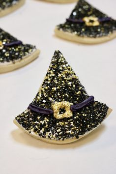 Halloween Witch Hat Cookies made with Bakery Bling™ Galaxy Glitz Glittery Sugar™ sprinkles. Halloween Witch Hat, Halloween Cookies, Halloween Treats, Witch Hat Cookies, Gingerbread House Kits, Sugar Sprinkles, Bakery, Bling, Autumn Cooking
